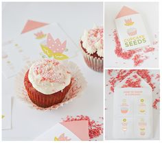 """Recipe for Jumbo red velvet cupcakes with adorable free printable """"cupcake seed"""" packets and flower topper for giving as gifts.  Design Eat Repeat and The Creativity Exchange"""