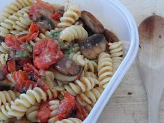 Pesto, Roasted Tomato & Mushroom Pasta Salad - a great lunch box filler, bursting with flavour and goodness