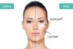 Lesson: accentuate your face shape by highlighting and contouring.