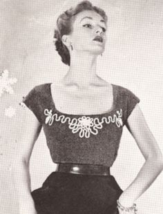 Vintage Designer Shell Blouse Knitting Pattern