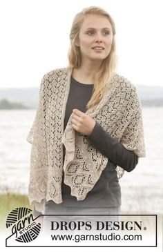 "Knitted DROPS shawl with lace pattern and bobbles in ""Lace"". ~ DROPS Design"
