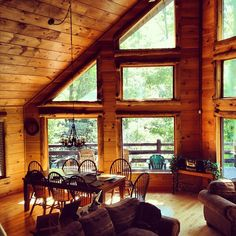 31 Dream Houses In The Woods ... love the windows on this one!