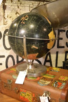 Cool black globe! available Sept 19-21, 2014 at www.chartreuseandco.com/tagsale, #vintageglobe, #vintagesuitcase, #vintagetravel