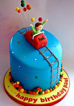 Roller coaster themed birthday cake