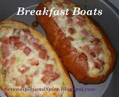 Ham egg and cheese breakfast boats.
