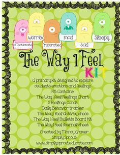 The Way I Feel Primary Kit to teach about feelings and emotions - free