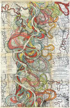 data visualization, colors, vintage maps, mississippi river, art