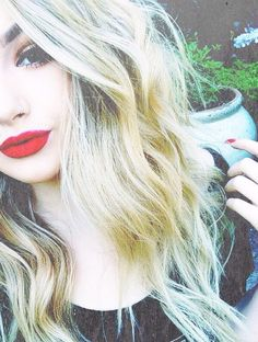 Love the bright red lip