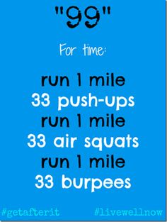 99 workout, crossfit wod, exercise workouts, 99 wod, squats, healthi, burpees, physical exercise, workout exercises