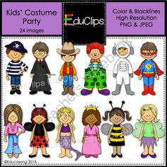 Kids Costume Party Clip Art from Educlips on TeachersNotebook.com -  (24 pages)  - Kids' Costume Party Clip Art