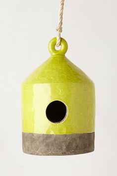 ceramic birdhouse in chartreuse