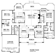 Nice ranch house layout.  Except I would have the porch extend around the side and connect with the deck.  Love split bedrooms.