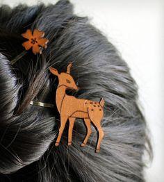 Deer & Flower Hair Pin Set Thanks @ Mary Bell !!! hair pin, hair colors, style, cloth, hairpin set, flowers, deer set, jewelri, flower hairpin