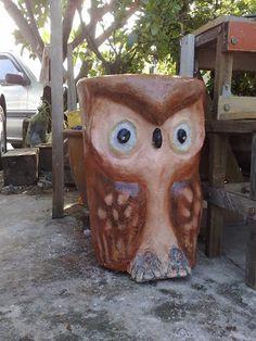 Owl Garden Stool Pinned by www.myowlbarn.com