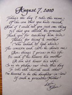 Poem for the mother-in-law from the bride.