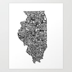 Typographic Illinois Art Print by CAPow! - $16.00