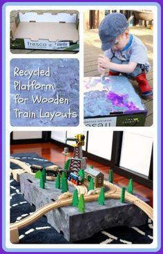 Recycled Cardboard Box Platform for Wooden Train Layouts @ Play Trains!