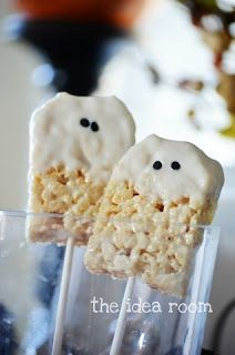 Cute Food For Kids?: 48 Edible Ghost Craft ideas for Halloween. halloween parties, school crafts, food, white chocolate, rice krispies, krispie treats, halloween treat, ghost, rice crispy treats