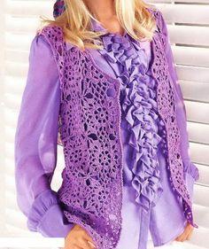 Crochet Vest - free pattern Violet, Pattern Free, Crochet Sweaters, Chart, Vest Pattern, Crochet Vests, Crochet Patterns, Crochet Cloth, Flower