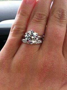 2.5mm channel set Tiffany wedding band with 3.43 ct Tiffany e-ring. yyeeepp