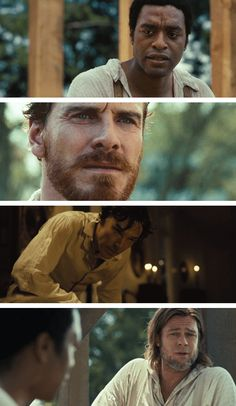 The men of TWELVE YEARS A SLAVE: Chiwetel Ejiofor, Michael Fassbender, Benedict Cumberbatch, and Brad Pitt