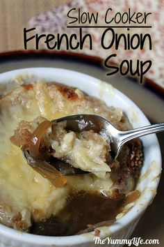 Slow Cooker French Onion Soup. An easy method with rich flavor. www.theyummylife.com/French_Onion_Soup