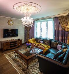 Дизайн гостиной в коттедже в классическом стиле