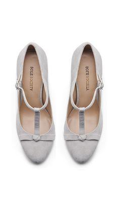 Grey bow mary janes