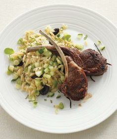 Lamb Chops With Orzo and Cucumber Salad recipe from realsimple.com #myplate #protein #vegetables