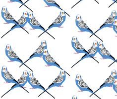Parakeets Looking at You - Blue fabric by owlandchickadee on Spoonflower - custom fabric