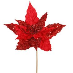 Christmas Tree Floral Red Velvet Poinsettia Pick- Florals add color and texture to your #Christmas #decorating #ShowMeDecorating #TheChristmasExperts