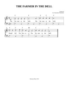 SHEET MUSIC: Free Printable The Farmer In The Dell Sheet Music and Song!