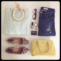 pearls, cheetah print, skinny jeans