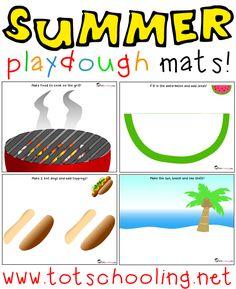 Free Summer themed Playdough Mats