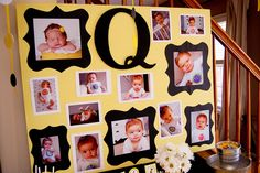 Love this picture display board! 1St Birthday Photos, Birthday Photo Display, Birthday Parties, Pictur Display, 1St Birthday Picture Collage, Picture Displays, 1St Birthdays, Photo Board Display, Display Boards