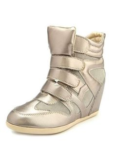 Velcro Strap Metallic Wedge Sneaker