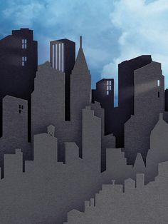 Perfect cardboard cityscape superhero backdrop