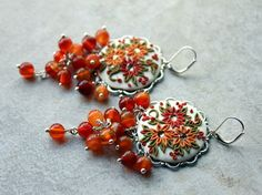 Stunning Polymer Clay Floral Applique Earrings by charancreations, $41.00