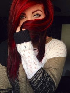 sweater, hair colors, eye makeup, red and black hair color, shades of red, black and red hair color, beauti, pretty hair color, gorgeous color