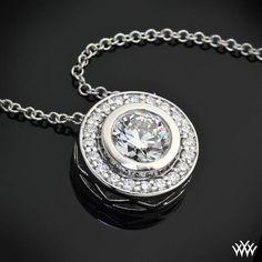 "18k White Gold ""Halo Bezel"" Diamond Pendant"
