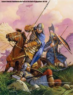 Bataille de Manzikert, 1071.  Illustration par Angus Mc Bride.