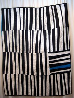modern black and white stripe quilt