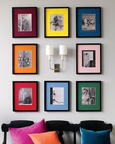 25 Cool Ideas To Display Family Photos On Your Walls |  The colored mats would be perfect to use with black and white prints of the kids or grandkids!