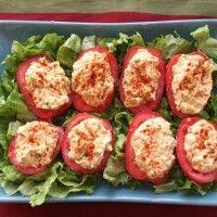 Vegan deviled tomatoes