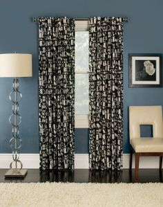 Manhattan Printed Back Tab Curtain Panel by Stylemaster, is a modern graffiti design on semi-sheer polyester fabric made as a back tab panel.  #Tab #Top #Curtains