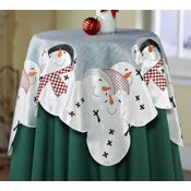 Holiday Snowman Embroidered Decorative Table Topper More