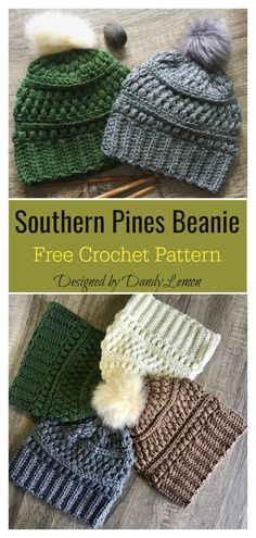 Southern Pines Beanie Free Crochet Pattern #freecrochetpatterns #beaniehat #crochethatpattern