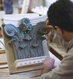 Clay model of a Corinthian capital that will be used to create a mold for plaster casting