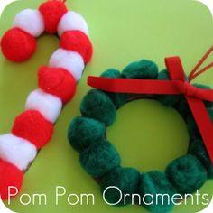 Kid's Christmas Crafts - Pom Pom Ornaments
