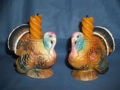 Vintage Napco Turkey Ceramic Candle Holders Japan